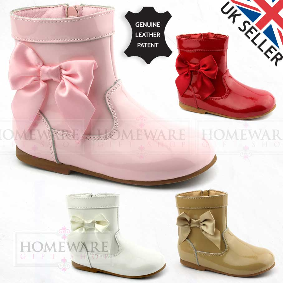 BABY GIRLS SPANISH BOW BOOTS SATIN BOW