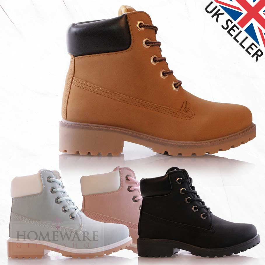 SALE GIRLS KIDS WORKER STYLE BOOTS LACE